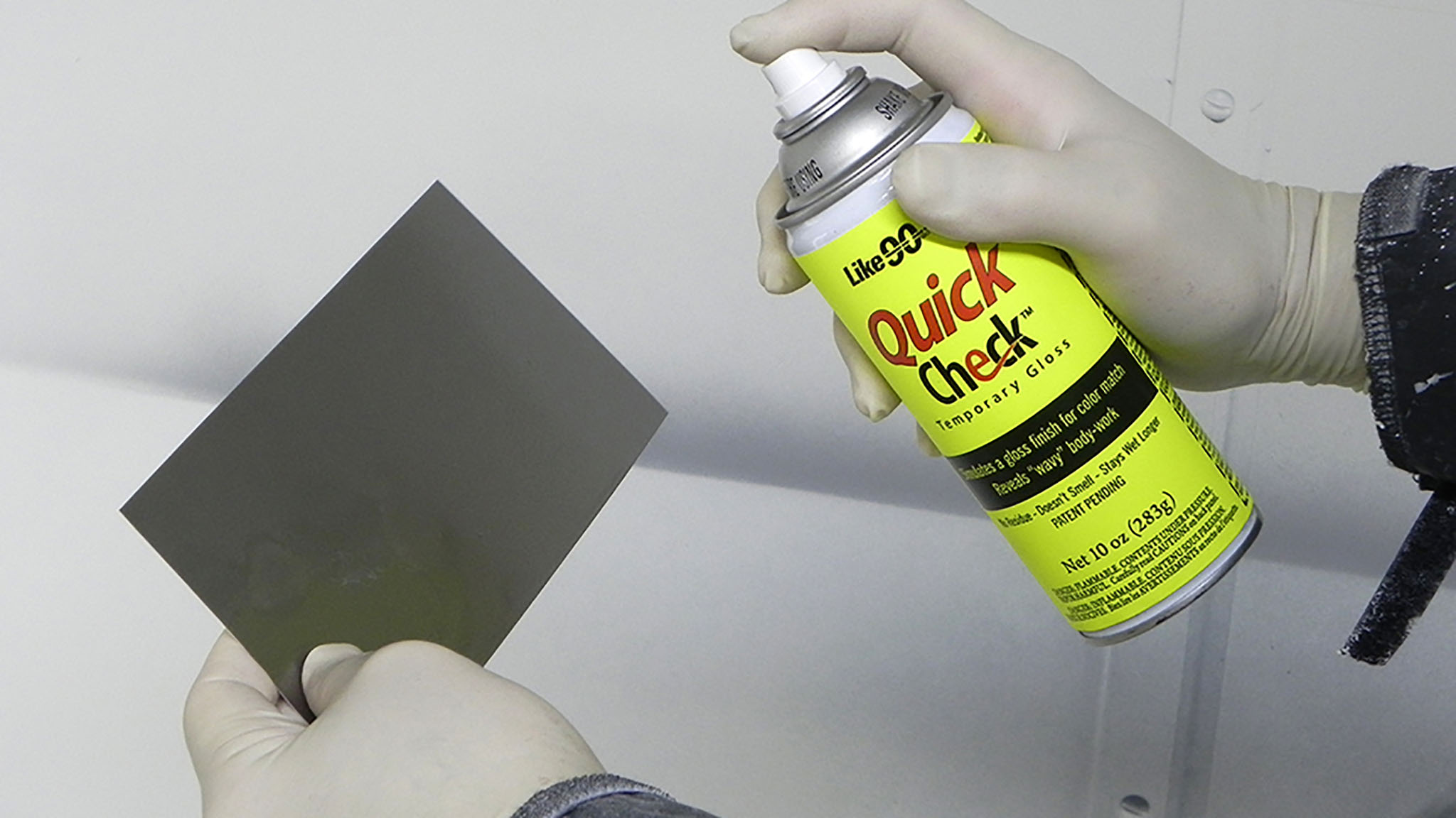 Quick Check spraying on spray-out card.